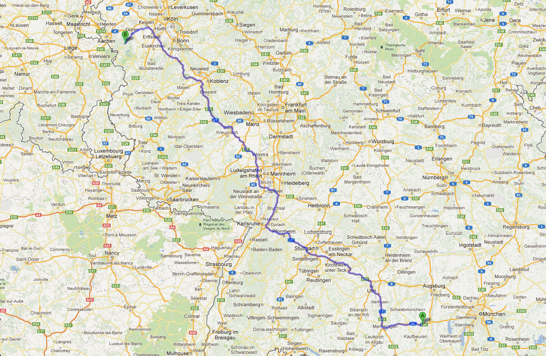 Von Buchloe nach Aachen